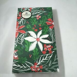 Cypress Home Green Holly Poinsettia Guest Towels Buffet Napkins 15 Count