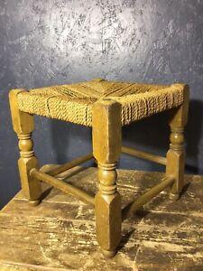 Vintage Wooden Stool Footstool Oak Frame Woven String Top