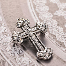 Unisex White Gold Plates Rhinestone Cross Brooch Pin Shawl Scarf Pin