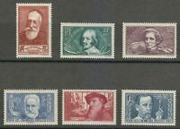France 1938 MNH Sc B54-B59 Callot,France,Berlioz,Hugo,Rodin,Pasteur **