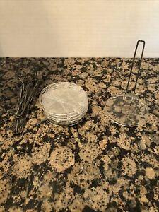 "Set of 8 MADAME ALEXANDER DOLL STAND VINTAGE CLEAR 4.25"" BASE W/ 5.5"" METAL POST"