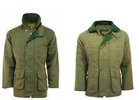 Mens Tweed Jacket Derby Sage Coat Shooting Waterproof Wool Hunting Outdoor Dark