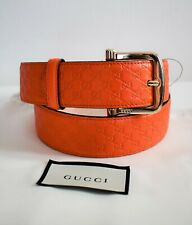 New GUCCI Orange MICROGUCCISSIMA GG Leather Belt IT-90 US-34/36 281548