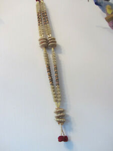 indian bollywood asian Wedding Hajj Pearls Pompoms Red Silver & Ivory Garland