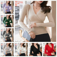 Women Sexy Deep V Neck Wrap Sweaters Long Sleeves Ribbed Pullover Fall Knit Tops