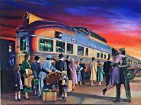 CALIFORNIA ZEPHYR TRAIN by VANCAS Midcentury RAILROAD Deco Signed 40x30 Canvas