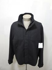 Wool Men XL Calvin Klein Bomber Zip Button Jacket Coat Grey Charcoal Army Jumper