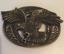 Eagle Belt Buckle American Western Themed 10.5cm x 7cm Bronze coloured metal VGC