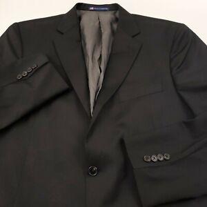 Hart Schaffner Marx Notch Lapel New York Fit Sports Coat Men 46R Black Reda Flex