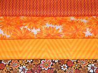 4 FQ Bundle – SHADES of ORANGE Prints 100% Cotton Quilt Fabric Fat Quarters V2