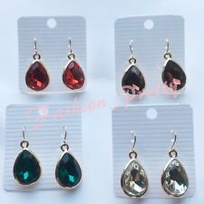 Super Pretty 18 Carat Pear Shape Crystal Earrings, Gold Overlay (Set- 4 Pieces)