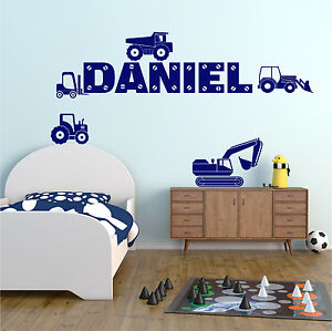 DIGGER DUMPER Wall Stickers Personalised Any Name Boys Bedroom Vinyl Transfers