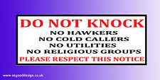 No Hawkers Cold Callers Utlities Religious Groups -Letterbox Sticker Sign C157