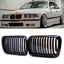 1Pair Front Kidney Nose Glossy Black Grill Grilles For BMW 3Series E36 M3 97-99