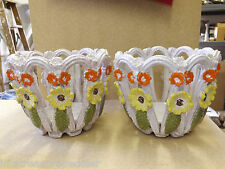 2 Made In Italy Open Reticulated Jardinieres Planters Flower Pot Holders