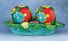 Vintage Ceramic Floral Salt and Pepper Shakers In Fruit Basket Base Japan