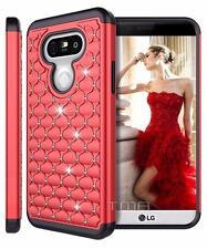 LG G5 Rhinestone Bling Rubber Armor Glossy Impact Hybrid Hard Case Cover - Red