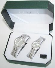 GENEVA SILVER TONE TEXTURED STAINLESS STEEL 2,TWO PIECE HIS+HER WATCH SET+BOX