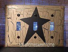 Primitive Crackle Tan & Black Star Triple Light Switch Plate ~ Country Decor