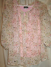 WOMENS CANDIES SIZE L TOP OR BLOUSE W/SHEER DELICATE LACE & CAMI 3/4 SLEEVES
