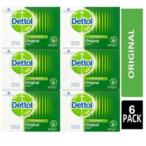 6 X Dettol Original Soap Bars 100g Hand Wash Face Protects Removes Bacteria