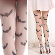 Beige/Black Stretch Flying Bats Pattern Witch Supernatural Costume Pantyhose OS