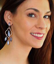 NWT Kate Spade Lantern Gems Crystal Gold Plated Stud Chandelier Earrings BLUE