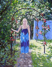 original oil painting:girl in sunny garden