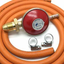 PROPANE 37mbar GAS REGULATOR WITH 2m HOSE/PIPE & 2 CLIPS Fits Flogas & Calor Gas
