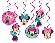 Disney Minnie Mouse Themed Party Supplies 6 x Hanging Swirl Swirling Decorations