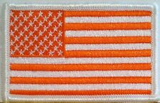 United States USA FLAG ORANGE & WHITE Patch With VELCRO® Brand Fastener #5