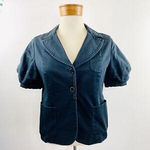 Miu Miu Size 8-10 Blue Jacket Cotton Short Sleeve Prada Designer Made In Italy