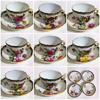 Early Meissen Set Of 8 Floral Demitasse Cups & Saucers Gold Cobalt Blue Rim
