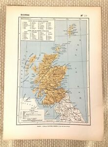1888 Antique Map of Scotland The Scottish Highlands Old French Geography 19th C