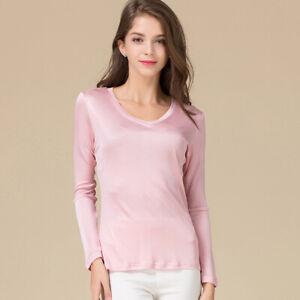 Natural Silk Women's V Neck Long Sleeved Bottoming Shirt Silk Womens Blouse