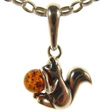 GIFT BOXED BALTIC AMBER STERLING SILVER 925 SQUIRREL PENDANT JEWELLERY JEWELRY