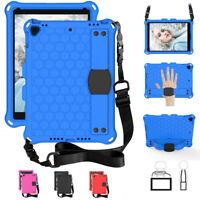 Kids Case For iPad 8th Gen (10.2 2020) EVA Foam Rugged Shoulder Strap Back Cover