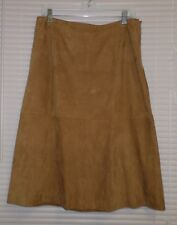DANA BUCHMAN Women's Camel Brown Suede Leather Lined Skirt 12