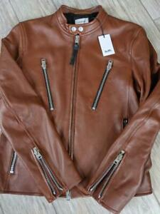 NEW cafe racer COACH lamb leather MOTORCYCLE jacket 42 (MEDIUM) brown fawn NWT