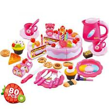 80Pcs Kitchen Cutting ToyS Birthday Cake Pretend Play Food Toy Set for Kids Girl