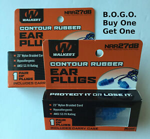 2 -Walker's GWP-TPRCORD-BL Noise Reduction Blue Shooting Rubber Corded Ear Plugs