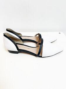 Designer Derek Lam Size 8M White Leather Black Trim Chic Women's Flats