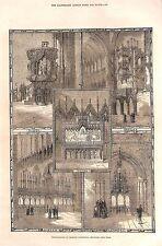 Chester Catedral. 1876. restauraciones. órgano. pantalla. trono. antiguo púlpito de impresión.