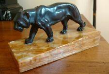 Petite bronze sur socle en marbre représentant un tigre marchant,  années 30-40