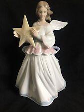 "LLadro #6132 Angel Of The Stars 8 1/4"" ANGEL Figure Tree Topper W/ Box Retired"