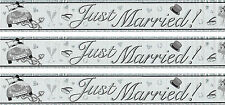 JUST MARRIED BLACK AND SILVER FOIL BANNERS (EW)