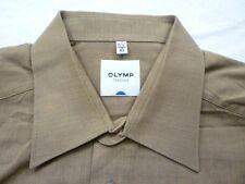 E7965 Olymp Tendenz Businesshemd Kombimanschette 40 braun meliert Unifarben