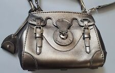RALPH LAUREN COLLECTION SILVER PEWTER SOFT RICKY 18 MINI CROSSBODY BAG ITALY