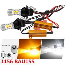 2x 1156 BAU15S 20SMD LED Dual Color Switchback Turn Signal DRL Light White/Amber