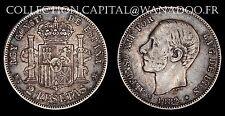 Espagne 2 Pesetas 1882 Madrid (1881-82) TTB Argent